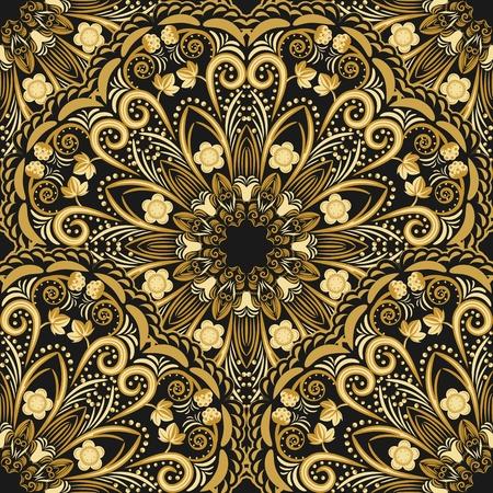 Ornate seamless pattern of golden mandala on black background. Vector illustration. Stock Illustratie