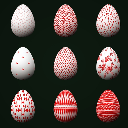 Collection of Easter eggs with red patterns