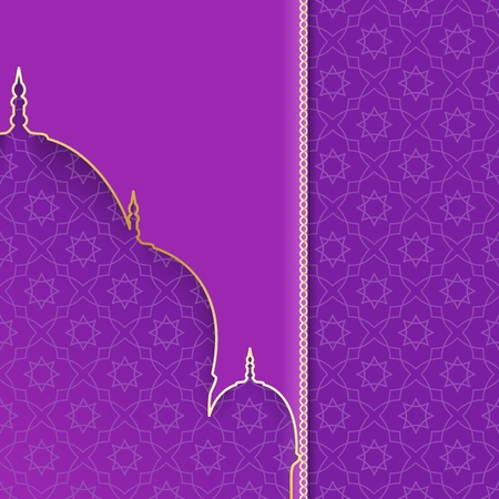 Greeting background with silhouette mosque. Purple and gold card for Muslim holidays. Vector illustration.