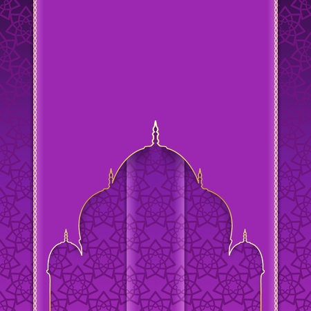 Greeting background with pattern to Muslim holidays. Ornate purple card with cut silhouette of mosque. Vector illustration. Illustration