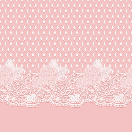 victorian wallpaper: A Seamless lace horizontal fabric. White flowers and a grid on a pink background. Illustration
