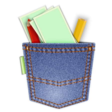 Denim pocket isolated on white background with pencils and business card templates. 일러스트
