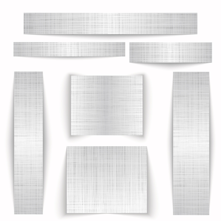 surface: Set of gray textured banners of different size with shadow isolated on white background.