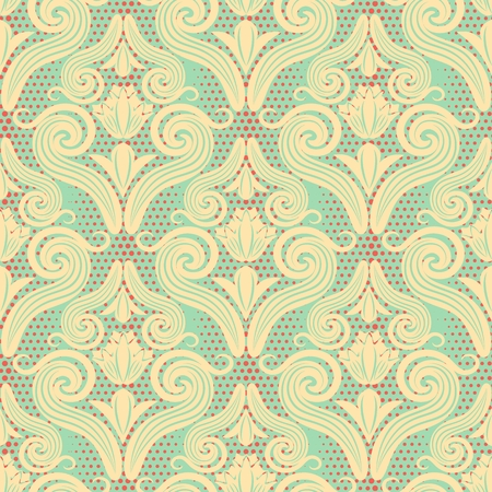 Seamless pattern of curls in the Damascus style. Beautiful texture background in vintage shades for wallpapers, wrapping paper and page fill. Vector illustration. Ilustração