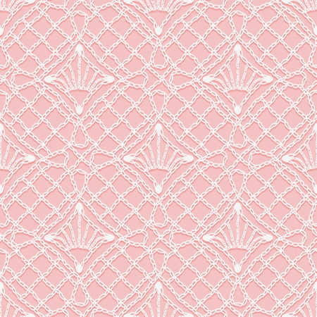 covering cells: Seamless pattern of Knitted lace. White hinges and threads of ornament on a pink background. Vector illustration