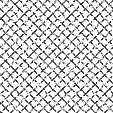 Einfaches nahtloses Spitzennetz der Schlaufen. Schwarzes wiederholendes Muster auf einem weißen Hintergrund. Vektor-illustration Standard-Bild - 87783140