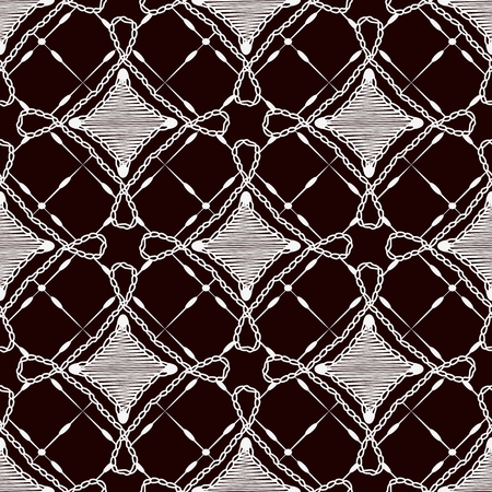 covering cells: Seamless pattern of lace cloth. White ornament on a dark background. Vector illustration