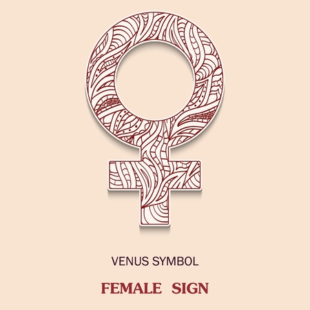Symbol of Venus is a female floor sign with a pattern in tribal Indian style. Vector illustration