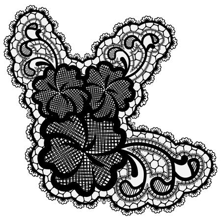 Luxury single lace flower isolated on light background. Vector illustration.