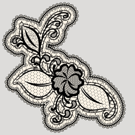 Embroidered lace flower. Detail of the wedding decor. Vector illustration
