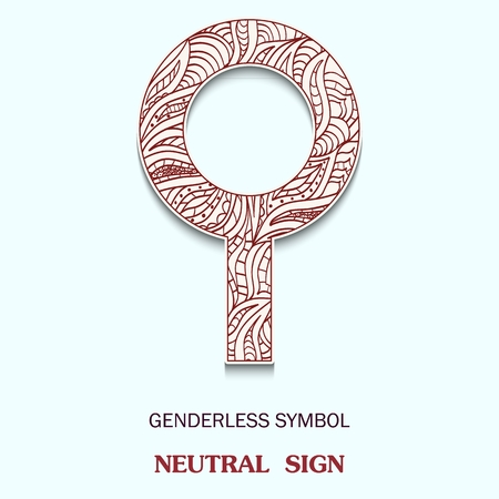 Symbol of genderless is Neutral sign with a pattern in tribal Indian style. Vector illustration Çizim
