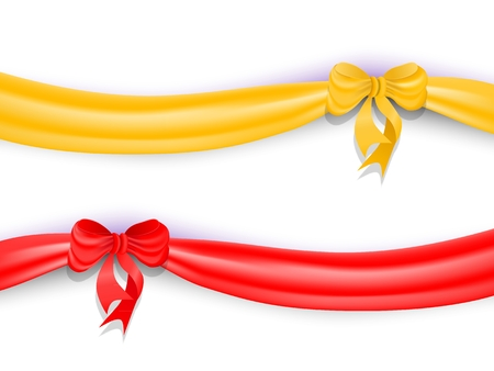 Set of red and yellow ribbons with bow and shadow.. Vector illustration