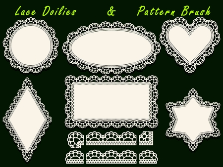 perforation tape: Set of design lace paper doily and pattern brush template.