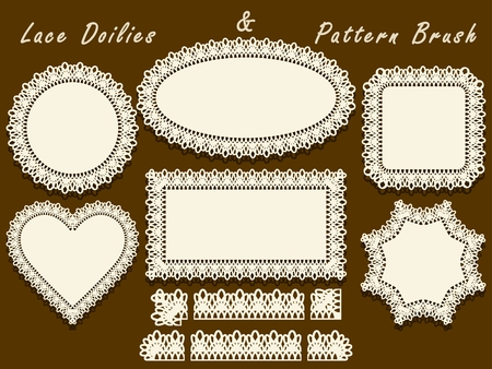 Set of napkins with lace edges and pattern brush is included in the palette.