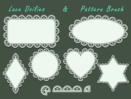Doilies lace ornament set and pattern brush.