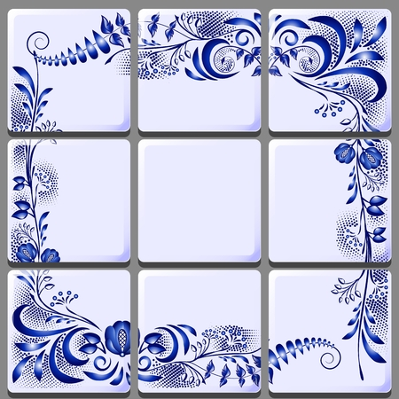 Blue floral drawing on ceramic tile on national motifs Vector illustration