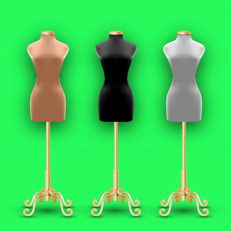 Set of three mannequins fashion of different colors on a gold pillars. Vector Illustration Illustration
