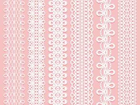 넓은 레이스 리본 핑크 배경에 설정합니다. 벡터 일러스트 레이 션 일러스트