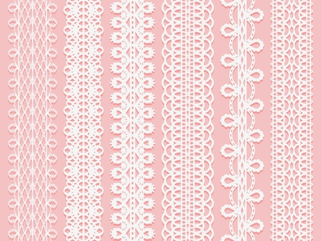 Wide lace ribbons set on a pink background. Vector illustration Stok Fotoğraf - 88222288