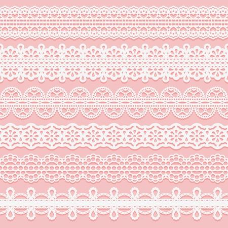 레이스 무늬 리본을 설정하십시오. 초대장, 카드, 등등의 디자인에 대 한 원활한 패턴. 벡터 일러스트 레이 션