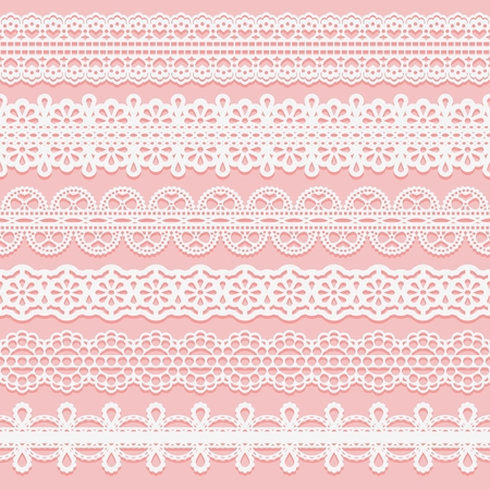 Set lace patterned ribbons. Seamless pattern for design of invitations, cards, etc. Vector illustration Иллюстрация