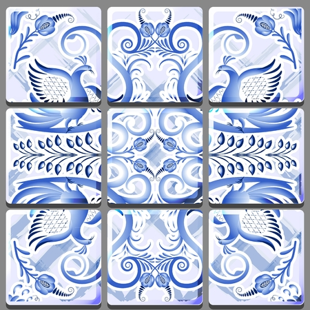 Blue mural on ceramic tile with a national painting. Vector illustration