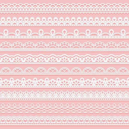 Set zarte Spitzenränder für Design. Weiße nahtlose Bänder auf einem rosa Hintergrund. Vektor-illustration Standard-Bild - 88222298