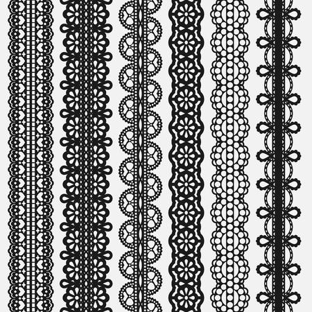 Lace seamless Borders set Isolated on white. Vector illustration Ilustracja