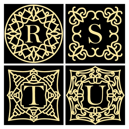 Set of ornate frame monogram for cards, wedding invitations, menus, labels. Collection of design elements for the letters R, S, T, U Golden signs on black background. Vector illustration.