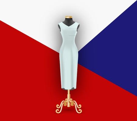 Female dress on the mannequin. Mock up for demonstration on geometric background pattern. Vector illustration Illustration