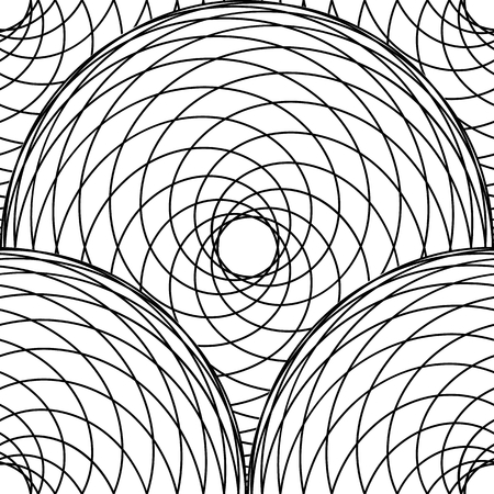 Abstract geometric pattern with intersection of spirographic lines. Stylish monochrome texture. Seamless linear pattern. Vector illustration.