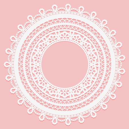 cellulose: Lace frame on a pink background. Delicate round doily Vector illustration