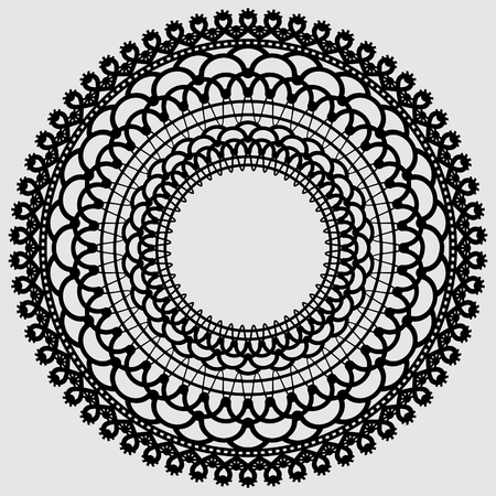 Lacy mandala. Delicate round doily Black silhouette on a light background. Vector illustration