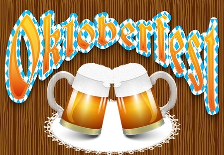 Poster template of Oktoberfest beer party with two mugs of beer with foam and lace napkin on wooden background texture. Vector illustration.