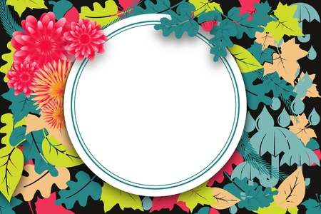 Stream autumn sale banner with flowers and leaves for online shopping.