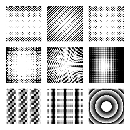 Set of halftone elements. Monochrome abstract patterns for DTP, prepress or generic concepts.