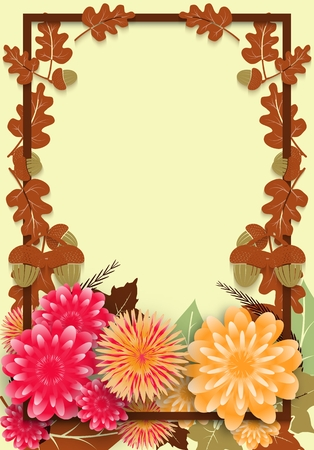 Autumn poster for seasonal sale with oak leaves and flowers. Sample template design, vector illustration.