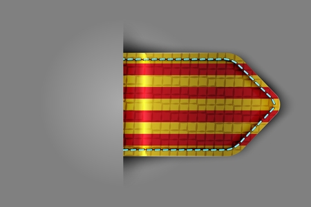 Flag of Catalonia in the form of a glossy textured label or bookmark. Vector illustration.