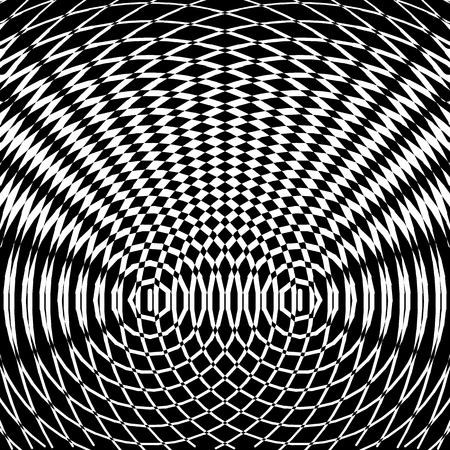 Optical art background. Black and white mosaic pattern. Vector illustration