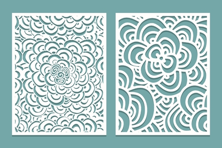 Set of Laser cut pattern panel templates. Wood or paper screen Lazer cut template. Cutout silhouette with Zentangle pattern. Vector illustration.