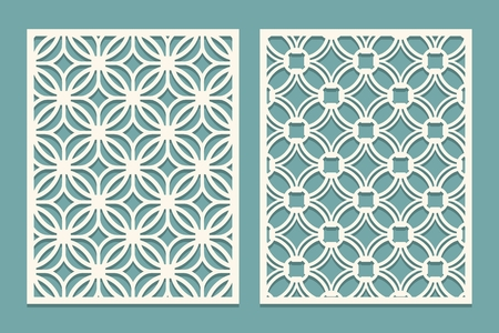 Set of die cut card. Laser cutting panels. Cutout silhouette with geometric pattern. Ornament suitable for laser cutting paper, wood, metal, stencil manufacturing. Vector illustration.