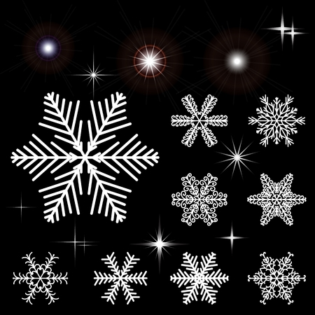 Set of snow-flakes and flashing outbreaks. Collection of elements for Christmas and New Years design. Vector illustration. Illustration