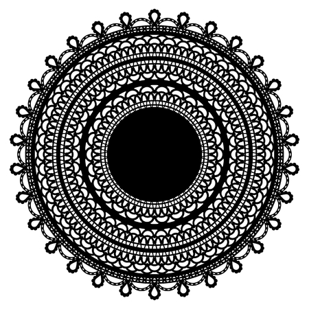 Black lace doily isolated on white background. Vector illustration.