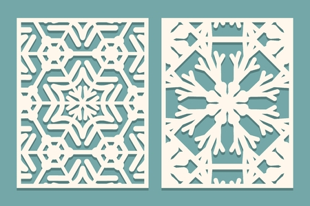 Die and laser cut ornamental panels with snowflakes pattern. Laser cutting decorative lace borders patterns. Set of Wedding Invitation or greeting card templates. Vector illustration  イラスト・ベクター素材