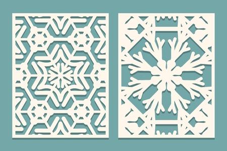 ダイとレーザーは、雪片パターンで装飾パネルをカットします。レーザー切断装飾的なレースの境界線パターン。結婚式の招待状やグリーティングカードテンプレートのセット。ベクトルイラスト 写真素材 - 91551135