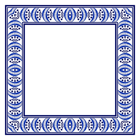 Square frame with a blue ethnic hand-drawn pattern. Vector illustration