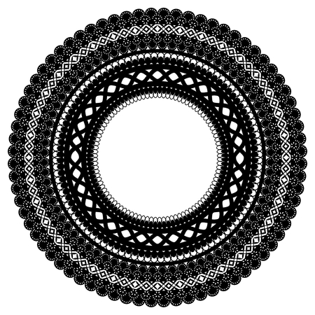 Openwork frame. Isolated black lace ornament. Vector illustration.