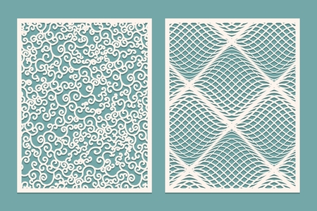Set of Laser cut panels. Template Patterns for decorative panels. Canvas cut out. Paper cut decorative design. Vector illustration