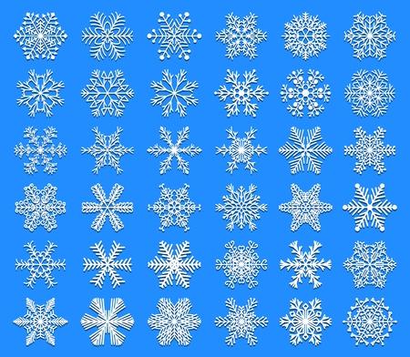 Set of snowflakes icon.