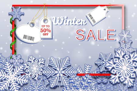 Winter Sale horizontal banner with snowfall and tags. Barcode does not contain links to products and websites. Vector illustration.